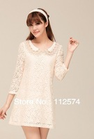 2013 spring new women Slim retro doll collar crocheted lace dress