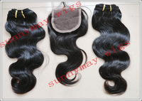 "Body Wave 12 Inch Lace Top Closure (4"" x 4"")  And 2pcs 14"" Weft Sell In Lot  Virgin Hair Top Closure Peruvian"