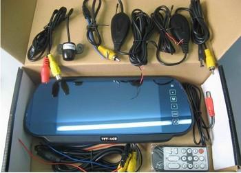 "free shipping 12V reversing car camera rear view 7"" TFT mirror wireless car parking sensor systemPSV-2-358"