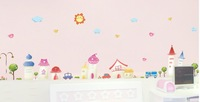 free shiping home decor  wall sticker 50*70 cm pvc  removable  romantic pink cartoon small town wall paper