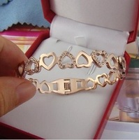 Min order $15(mix order)14K roes gold plated Fancy Heart with rhinestone bracelet