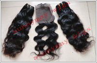 "Natural Wave 14 Inch Lace Top Closure (4"" x 4"")  And 2pcs 16"" Weft Sell In Lot  Brazilian Virgin Hair Lace Closure"