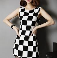 Free Shipping New Arrival  Women's Fashion Chiffon Tank Dress Short Black and White Plaid Dress MG-044