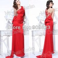 Tarik Ediz One Shoulder Ruffles Natural Waist Red Beautiful Flowers Beaded Back With Bow Formal Designer Evening Dress
