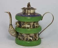 Excellent CHINESE OLD TIBET-SILVER JADE TEA POT Teapot Collectibles