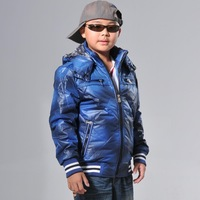 Children's clothing male child autumn and winter 2013 child thermal wadded jacket teenage male with a hood outerwear