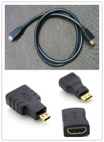 Free shipping High quality 4 in 1 Mini HDMI/ Micro HDMI/ HDMI female Adapter Connector + HDMI cable 1M