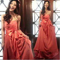 Watermelon red bride married bridesmaid evening dress tube top wedding dress formal dress long design 6003