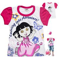 New DORA children's T-shirt / Cotton /girls Short sleeve shirt / Hubble-bubble sleeve T-shirt / factory wholesale Free shipping