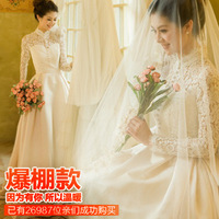 HJZZ--The Korean Korean Princess Bride long-sleeved wedding dress 2013 winter thickening hotel latest pregnant women