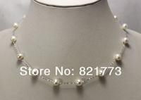 """16"""" white genuine pearl 925 silver chain necklace"""