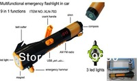 free shipping LED flashlight in car camping lamp rechargable flashlight Deluxe Car Emergency Tool,Crank dynamo radio waterproof