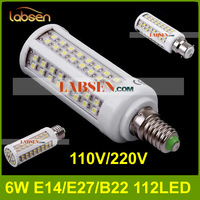 Wholesale -Factory direct 6W 112LED Warm White/White led Corn Light Bulb AC110V/220V led lamps E27/E26/E14/B22 LED lamp CE&ROHS.