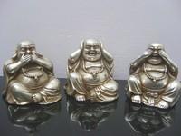 Rare Tibet Silver Plating 3 Happy Laughing Buddha Statue