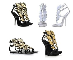 2013 Hot lady high heel sandals gold leaf wedge pumps flame sandal shoes(China (Mainland))