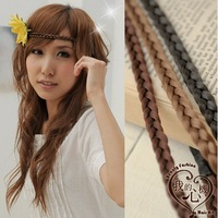 Popular hair accessory non-mainstream twisted elastic knitted wig girls vintage pigtail hair band