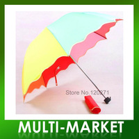 Free shipping/ 2013 Newest Rainbow Umbrella, Princess Arch Umbrella, Falbala Sun 3-Folding Umbrella