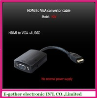 hot sale for HDMI to VGA +AUDIO convertor cable with high quality by free shipping cost