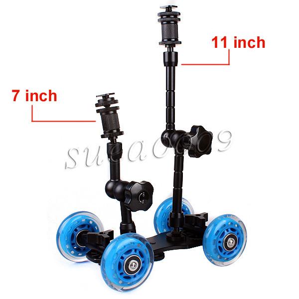 "Blue DSLR Skater Wheel Camera Truck Dolly Kit+11"" 7"" inch Articulating Magic Arm(China (Mainland))"
