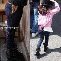 Wholesale Children Kid Girls Rose/Yellow Paillette 100% cotton Straight Jeans Pants Trousers ,100-140cm,5 sizes/lot each color
