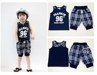 Free shipping (5 sets/lot) chilren's clothing suit,boy's gentleman plaid summer suit,sleeveless T-shirt+half pants 2pcs,in stock