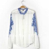 New Lady's Floral Print Long Sleeve Casual Women Chiffon Top T Shirt S/M/L Free Shipping 651241-651243