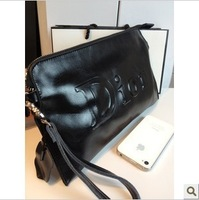 2014 Women handmade cowhide envelope genuine leather women's handbag day clutch bag dinner party one shoulder cross-body bag