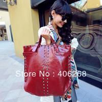 free shipping 2013 new arrival fashion rivet bright pu leather ladies' handbag large capacity shoulder bag sling bag