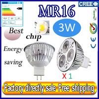 Factory directly sale 1pcs/lot CREE Bulb led bulb MR16 3x1W 3w AC/DC 12V Dimmable led Light led lamp spotlight free shipping