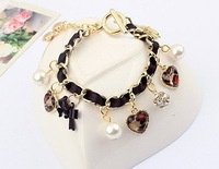 Min.order is $15(mix order)Factory price, Fashion sweet, hand Braided, Ribbon Pearl Heart Bracelet/H188