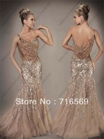 Free Shipping Noble Silver Prom Dresses 2013 One-shoulder Floor-length Court Train Sequins Trumpet Mermaid Evening Dresses 1152D