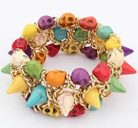 Min.order is $15(mix order)New Arrival Fashion Bracelets,Exaggerated color skull fashion Stretch Bracelet