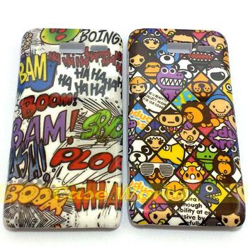 2 pcs Haha colorized Graffti Design zoological garden style back Hard Case for Motorola Razr i XT890