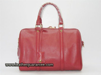 Medium Wine Red Fashion Metallic Leather Satchel