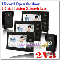 2v3 ID card IR night vision touch buttons color video door phone intercom systems door bell (2 cameras + 3 screens) Drop ship