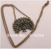 Antique Style Lovely Peacock Tail Pendant Long Chain Necklace