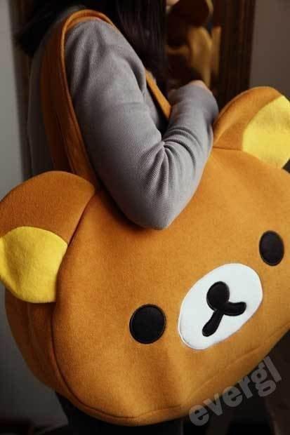 San-X Rilakkuma Cute Big Bag Handbag Shoulder Bag Plush Relax Brown Bear FB0201A(China (Mainland))