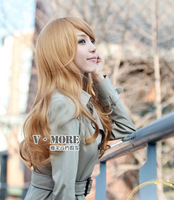 Fashion wig ladygaga sand gold big wave oblique bangs long curly hair temptation