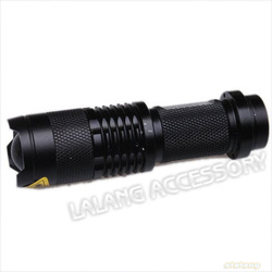 New Promotion 1pcs/lot Waterproof LED Torch 300LM SK-68 LED Flashlight Adjustable Zoom In Flash Light Lamp Black Color 750039(China (Mainland))