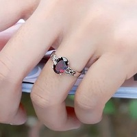 Fashion brief natural garnet female ring simple finger ring 925 pure silver wine red crystal