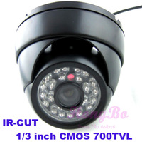 "Free Shipping  Dome camera 700TVL 1/3"" CMOS with IR-CUT  24 IR  waterproof/weatherproof cctv outdoor camera"