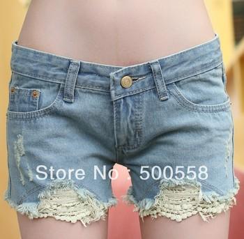 Women's figure flattering denim pants jeans export Lace process brand Cotton Jeans ladies distrressed Denim shorts pants/ 820