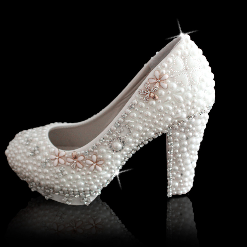 Crystal wedding shoes Crystal shoes of the same paragraph pearl flower wedding bridal shoes handmade custom high-heeled rhinesto(China (Mainland))