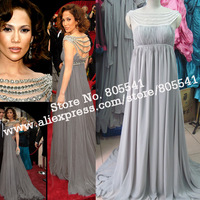 100% Real Photo A-line Off-the-shoulder Beading Chiffon Jennifer Lopez 2007 Oscars Dress Celebrity Dresses RCB8023