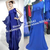 100% Real Photo Mermaid One-shoulder Ruffles Chiffon Blue Cheap Long Prom Dresses RED8024