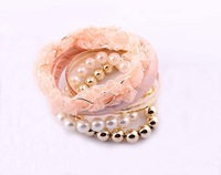 Factory price/Newest bracelets&bangles/multilayer hit color fashion lace/ABS bracelet,Have 2 color