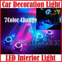 One Set Car Charge 12V 4In1 LED Interior Decorative Floor Light Lamp 7Color Change/Blue