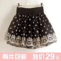 2013 cutout lace puff skirt tulle dress short bust high waist pleated skirt