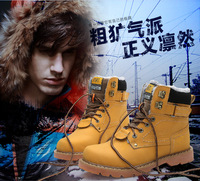 Free Shipping Winter leather snow boots plush boots warm boots tooling boots men fashion casual lace boots men's boots