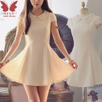 2013 spring summer slim peter pan collar chiffon one-piece dress sweet princess dress basic skirt